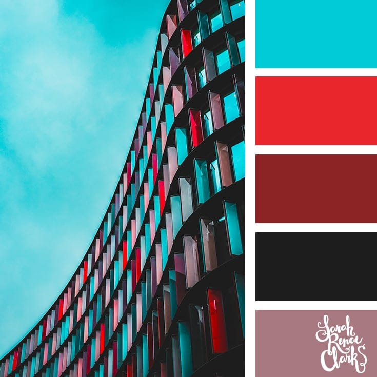 Red and acqua | 25 color palettes inspired by the PANTONE color trend predictions for Spring 2018 - Use these color schemes as inspiration for your next colorful project! Find more color palettes, mood boards and schemes at www.sarahrenaeclark.com #color #colorpalette