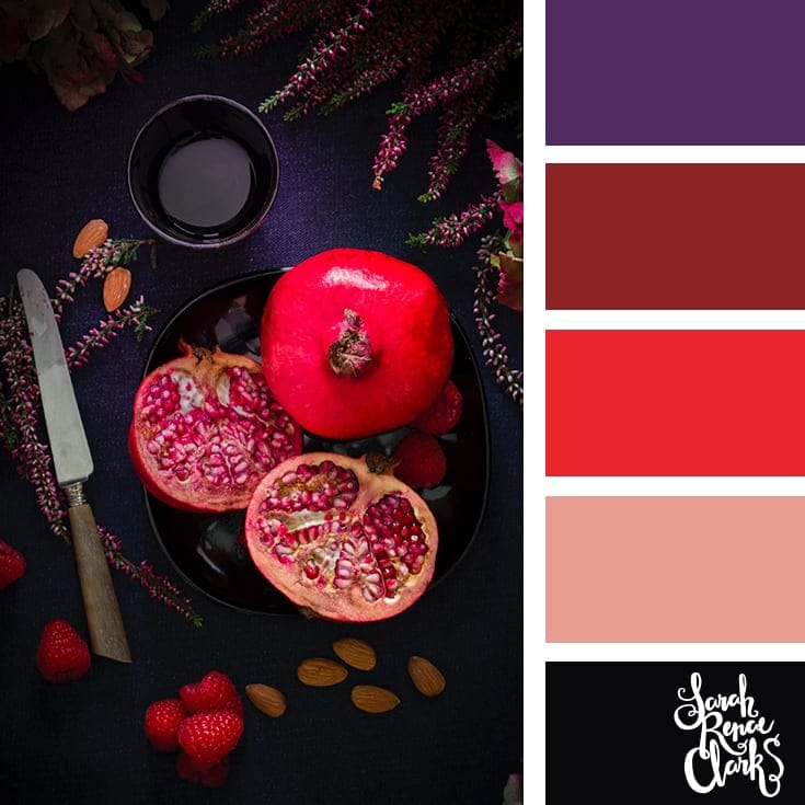 Pomegranate hues | 25 color palettes inspired by the PANTONE color trend predictions for Spring 2018 - Use these color schemes as inspiration for your next colorful project! Check out more color schemes at www.sarahrenaeclark.com #color #colorpalette