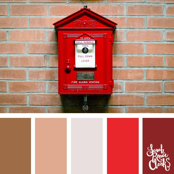 Red colors | 25 color palettes inspired by the PANTONE color trend predictions for Spring 2018 - Use these color schemes as inspiration for your next colorful project! Check out more color schemes at www.sarahrenaeclark.com #color #colorpalette