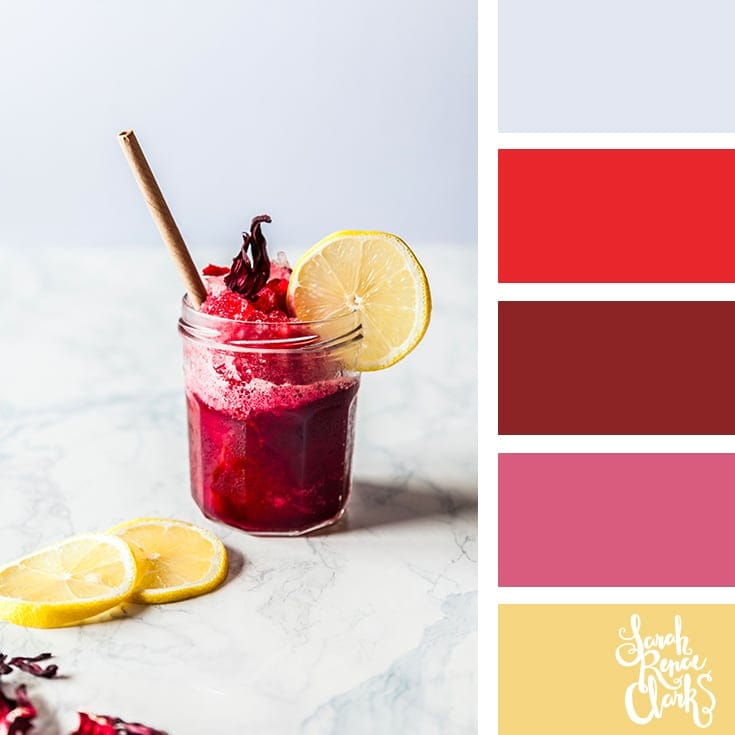 Red color inspo | 25 color palettes inspired by the PANTONE color trend predictions for Spring 2018 - Use these color schemes as inspiration for your next colorful project! Check out more color schemes at www.sarahrenaeclark.com #color #colorpalette