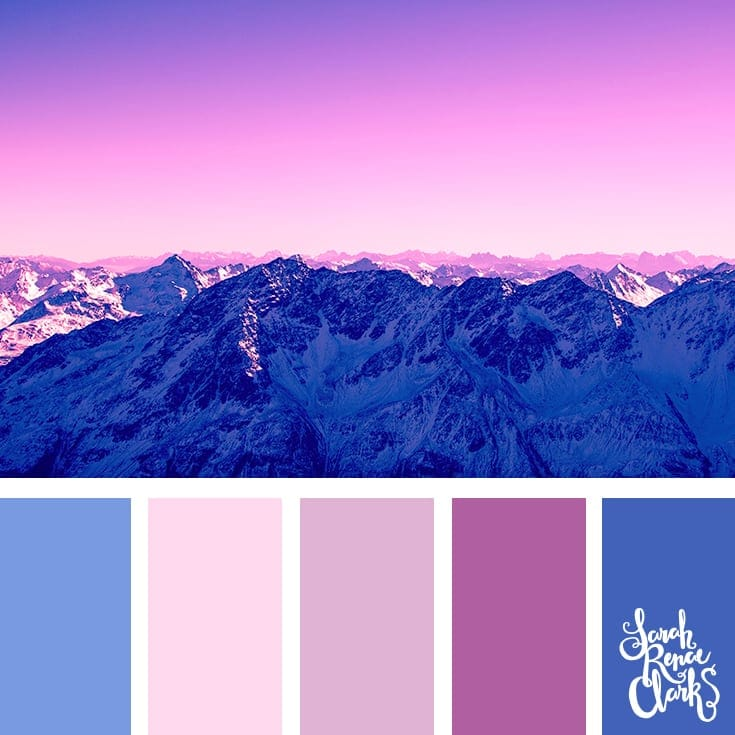 Pink and blue | 25 color palettes inspired by the PANTONE color trend predictions for Spring 2018 - Use these color schemes as inspiration for your next colorful project! Check out more color schemes at www.sarahrenaeclark.com #color #colorpalette