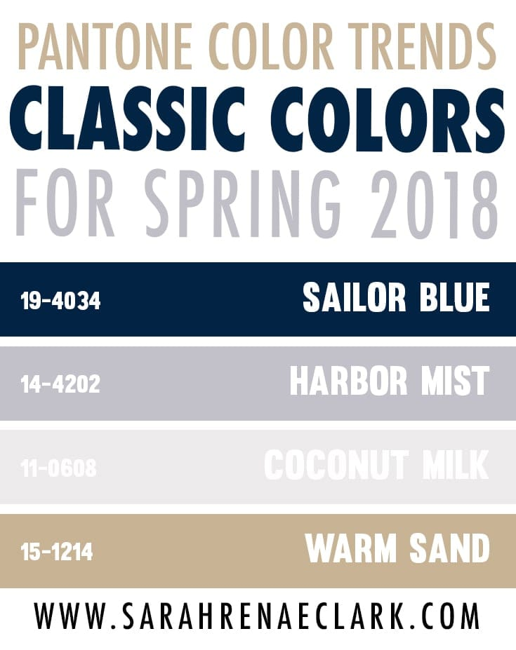 Pantone's Spring 2018 Classic Color Trend Forecast - Check out these 25 color palettes inspired by the Pantone colors for Spring! #color #pantone