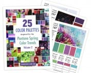This printable color guide includes 25 color palettes inspired by the Pantone Spring Color Trends in 2018. This color guide includes RBG, CMYK and HEX codes for each color palette for color matching in graphic design, websites or printing. Printable PDF format.