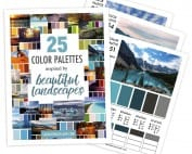 25 color palettes inspired by beautiful landscapes. This color guide includes RBG, CMYK and HEX codes for each color palette for color matching in graphic design, websites or printing. Printable PDF format. Find more #colorpalettes at www.sarahrenaeclark.com