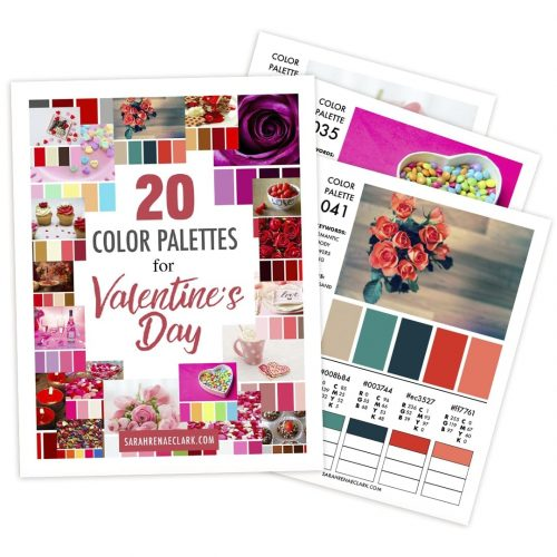 These 25 color palettes will give you plenty of colorful ideas for Valentine's Day crafts and coloring. This color guide includes RBG, CMYK and HEX codes for each color palette for color matching in graphic design, websites or printing. Printable PDF format. Find more #colorpalettes at www.sarahrenaeclark.com