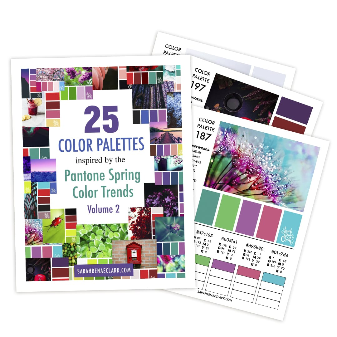 This printable color guide includes 25 color palettes inspired by the Pantone Spring Color Trends in 2018.This color guide includes RBG, CMYK and HEX codes for each color palette for color matching in graphic design, websites or printing. Printable PDF format.
