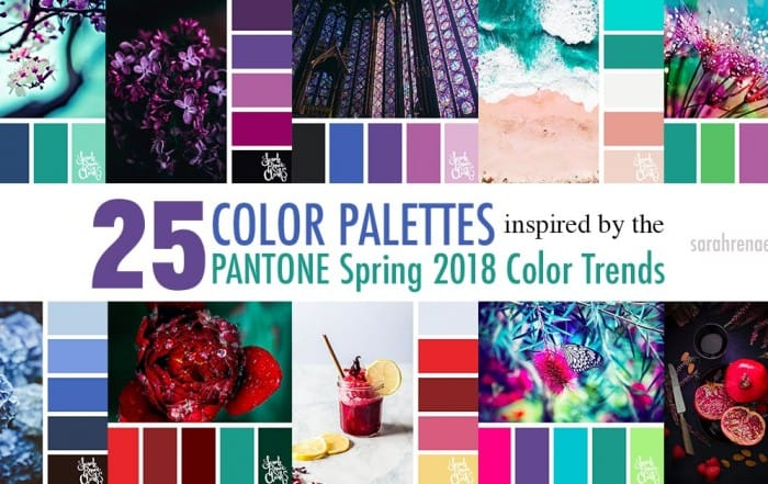 Color palettes inspired by the PANTONE color trend predictions for Spring 2018 - Use these color schemes as inspiration for your next colorful project! Find more color palettes, mood boards and schemes at www.sarahrenaeclark.com #color #colorpalette