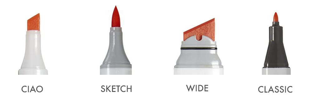Copic Markers come in 4 different types: Copic Ciao, Copic Sketch, Copic Wide and Copic Classic