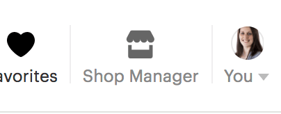 Etsy shop manager button