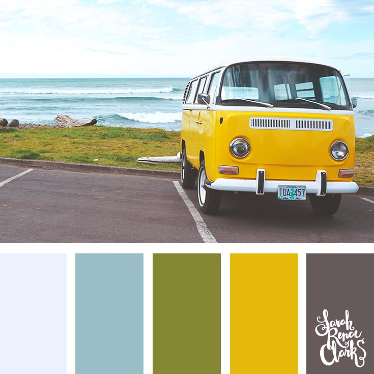 Yellow beach van color scheme