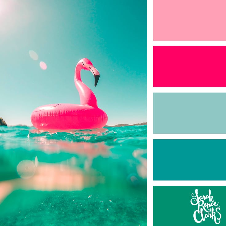 Teal and pink color palette