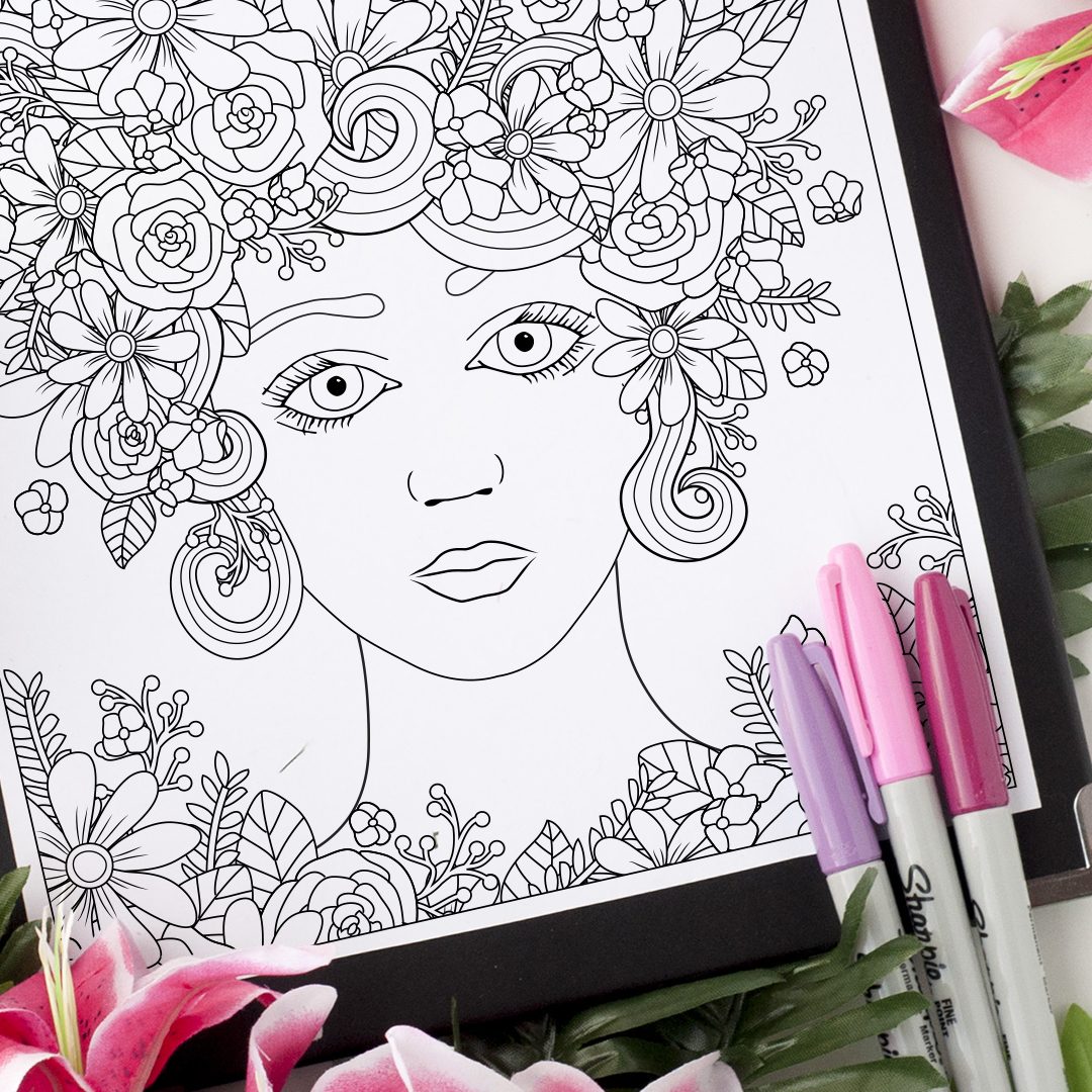 Flower Girl Coloring Page - Sarah Renae Clark - Coloring Book Artist ...