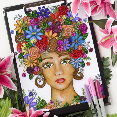 Flower Girl Adult Coloring Page. Colored by Michelle HH