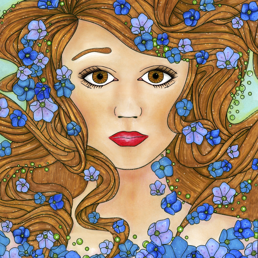 Ocean Girl Adult Coloring Page. Colored by Michelle HH