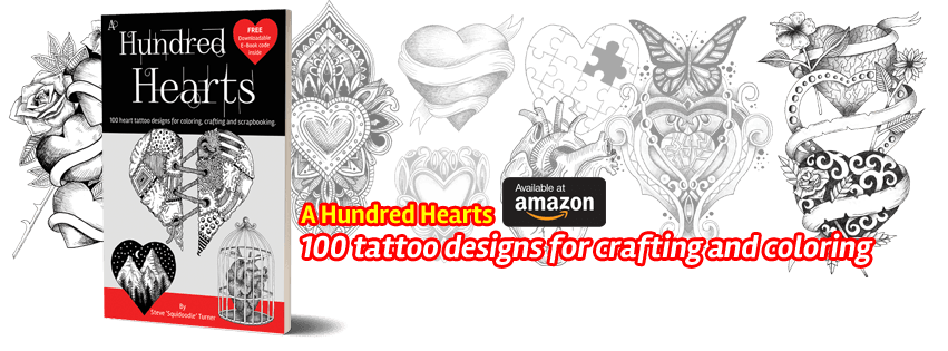 Get Squidoodle's latest coloring book, A Hundred Hearts