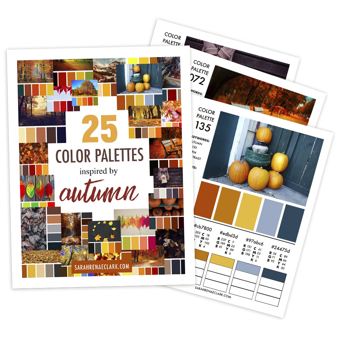 25 Color Palettes Inspired by Autumn | Printable PDF color guide
