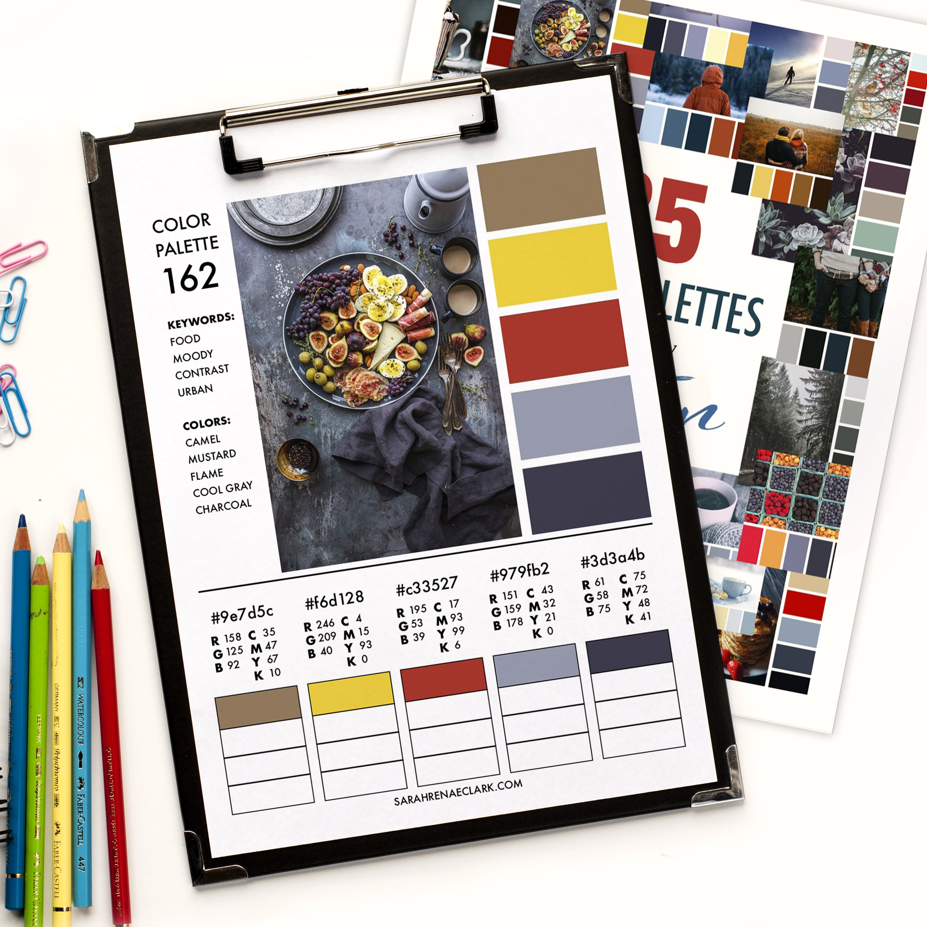 Get the PDF version of all 25 color palettes, including RGB, CMYK and HEX codes for each color. Click to buy now!