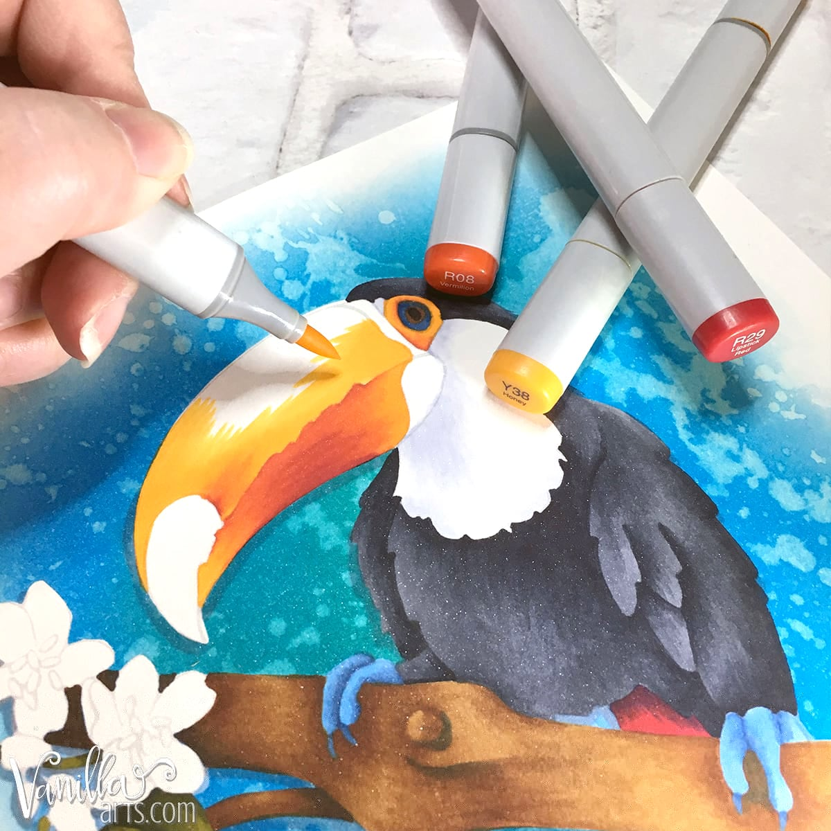 Copic Marker blending tips: Don't use friction. Every area gets an even and generous coat of ink, then I step back and let the inks blend on their own.