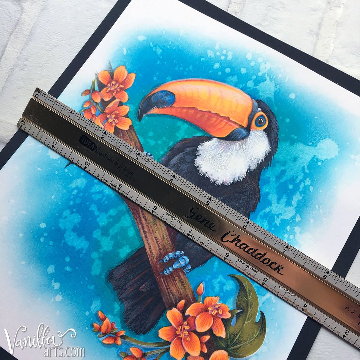 Copic Markers: Different projects require different techniques. At 7 x 7 inches, this toucan is not card sized. What works at card scale rarely works on larger designs.