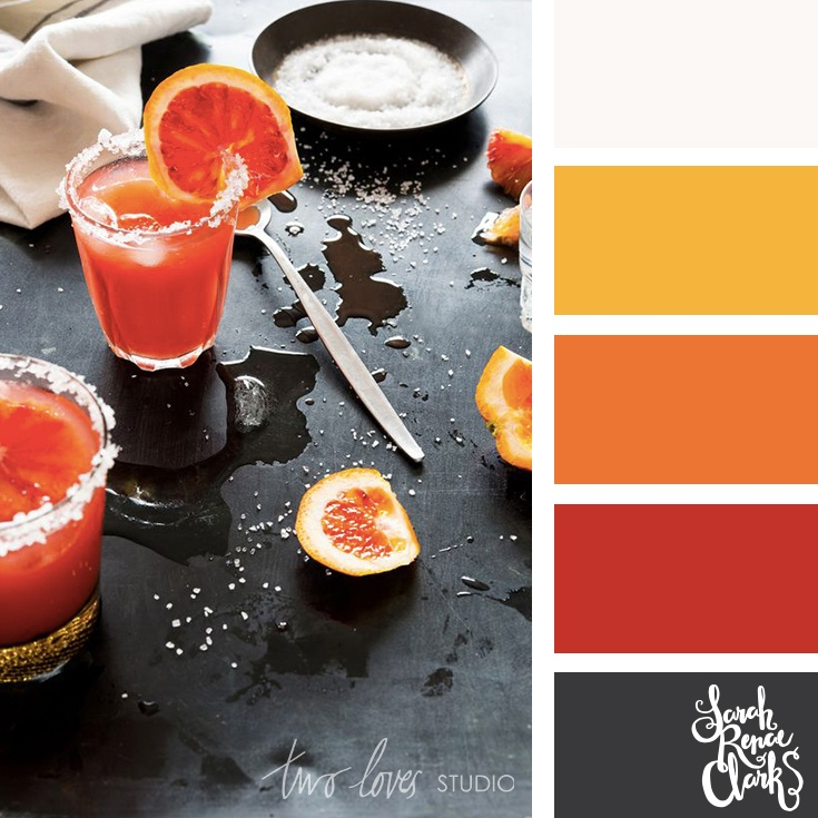 warm red, orange, gold and gray color palette