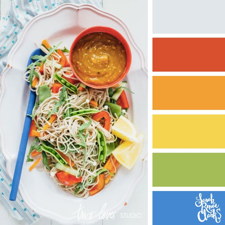 Rainbow food color palette