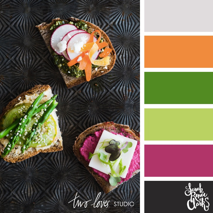 Pink and green food color palette
