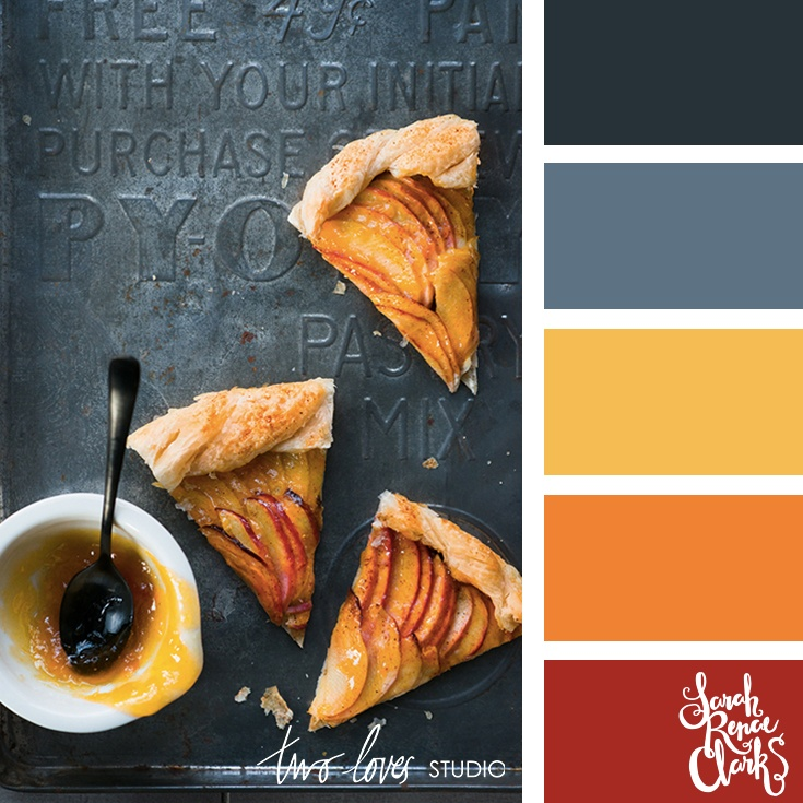 Warm red, mustard, gray color palette