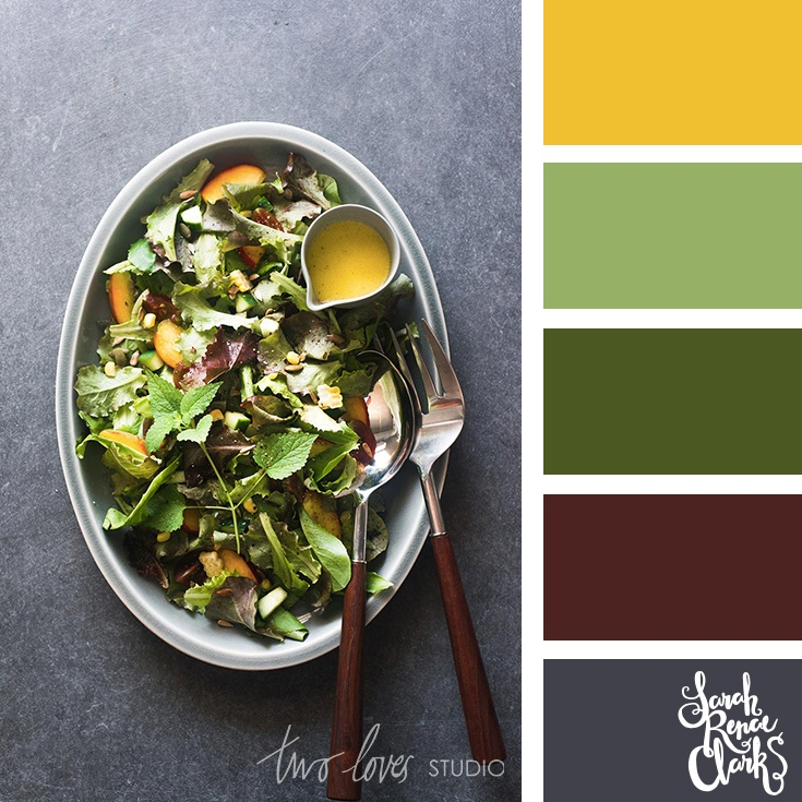 Mustard yellow and salad greens color combo