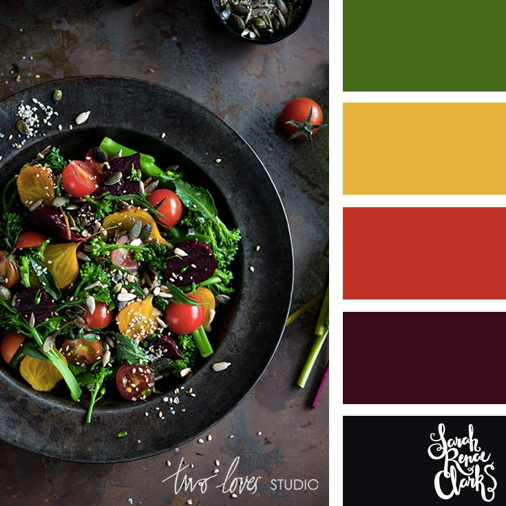 Rainbow salad moody color scheme