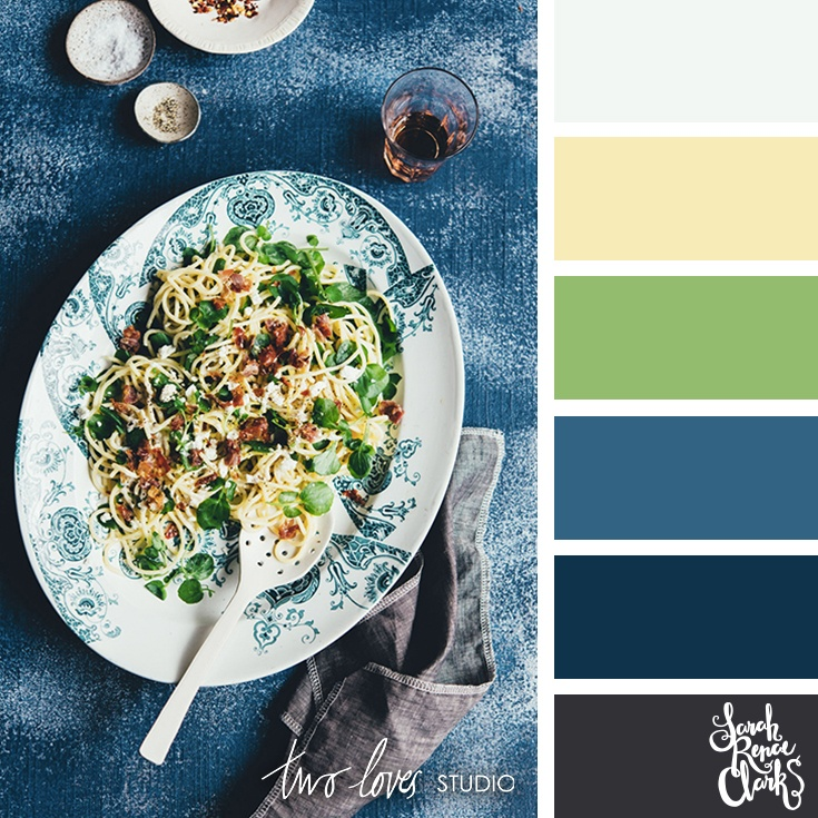 Blue + green noodle salad color inspo