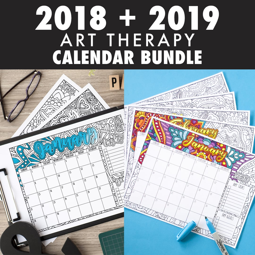 2018 and 2019 Coloring Calendar - Printable Bundle