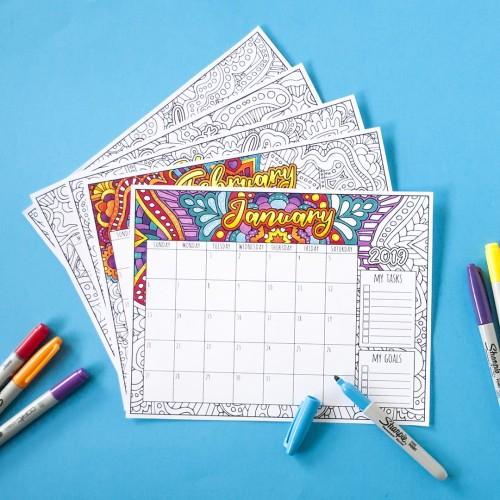 Printable 2019 coloring calendar