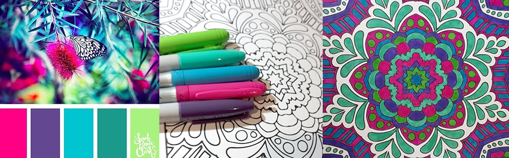 Using a color palette to choose good color combination for coloring books