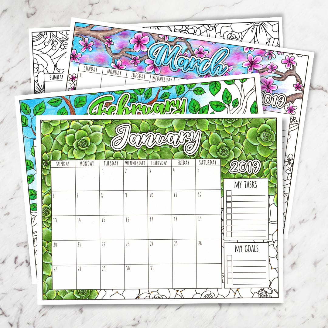 photo about Printable Coloring Calendar named Free of charge 2019 Printable Coloring Calendar - Via Sarah Renae Clark