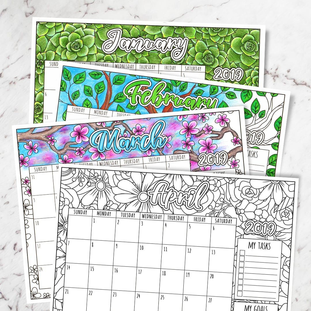 picture about Printable Coloring Calendar identify Absolutely free 2019 Printable Coloring Calendar - By way of Sarah Renae Clark
