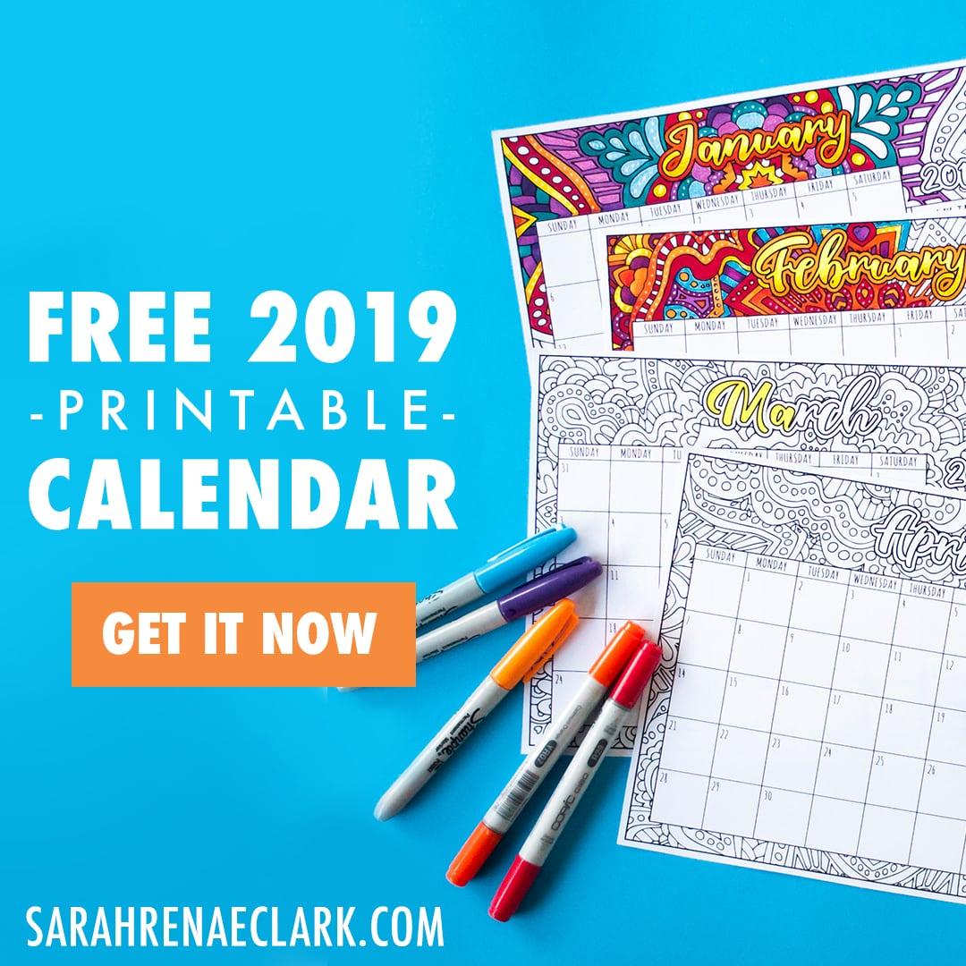 free 2019 calendar button