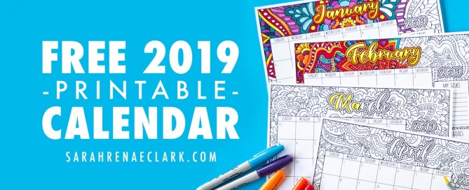 Free 2019 Printable Coloring Calendar by Sarah Renae Clark