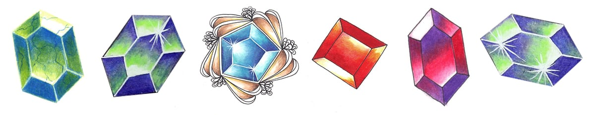 Colored gemstone tutorial examples