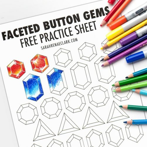 Free printable Gemstone coloring practice sheet