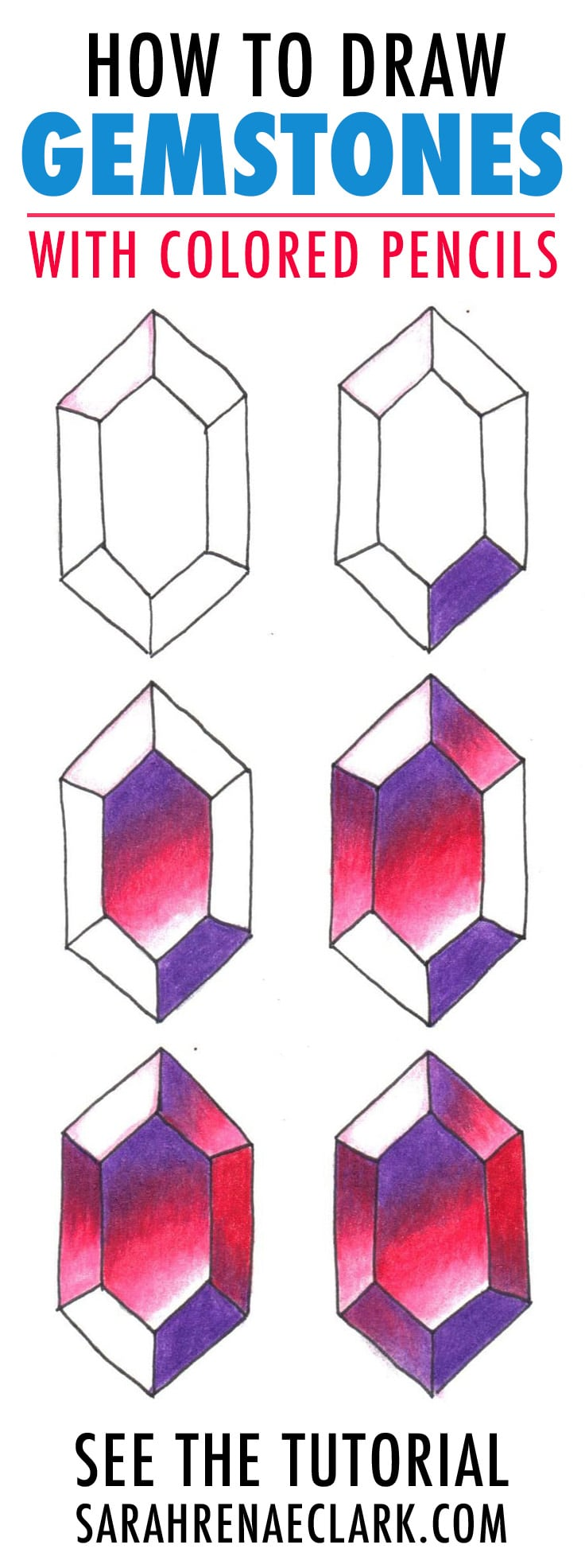 How To Draw Gemstones With Colored Pencils Adult Coloring Tutorial