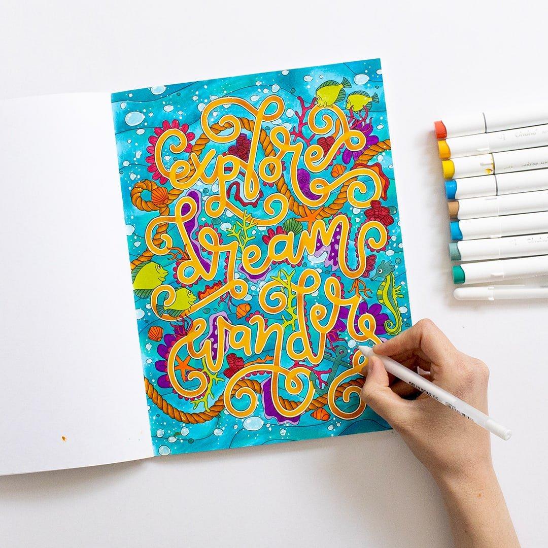 Explore, Dream, Wander Coloring Page