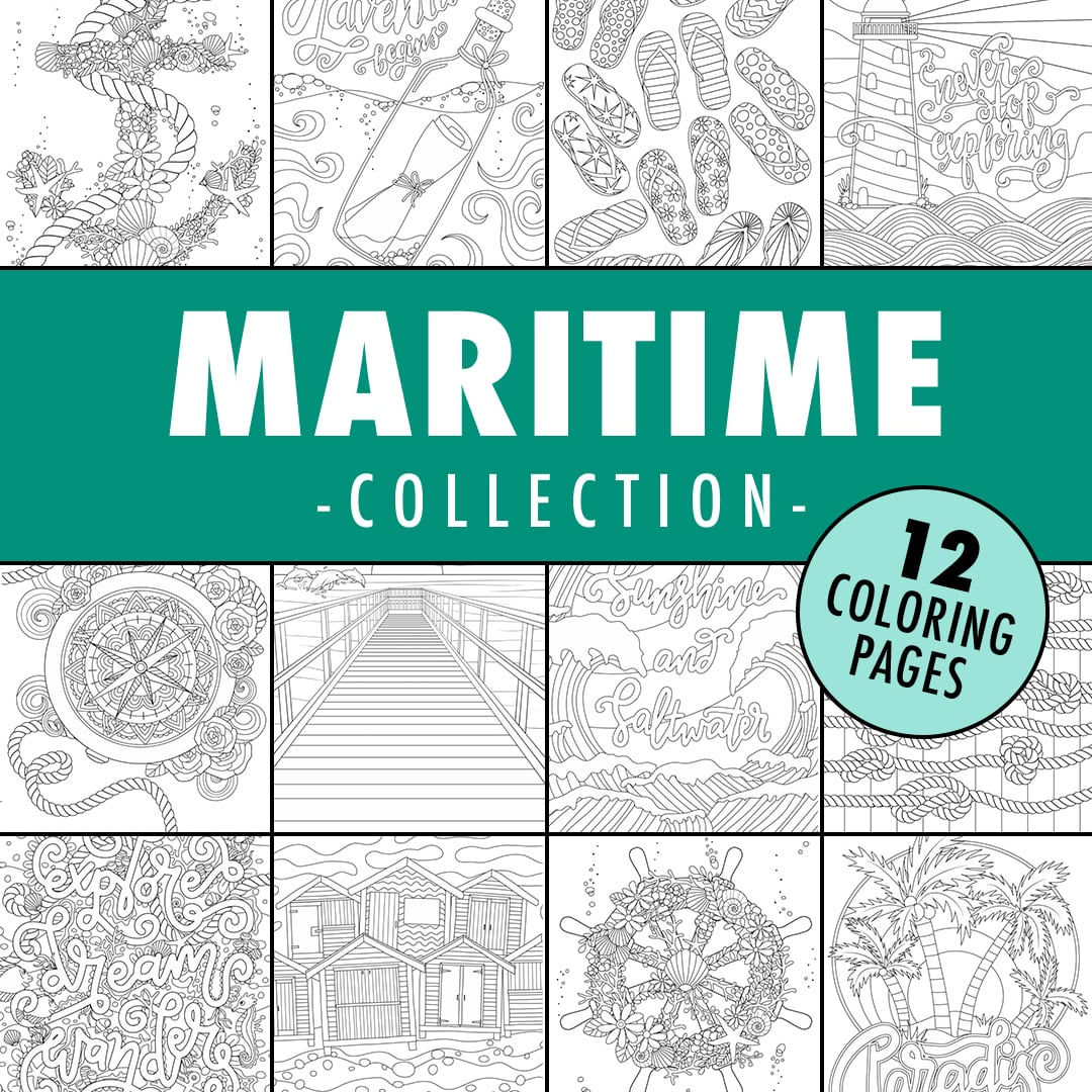 maritime ocean coloring page collection
