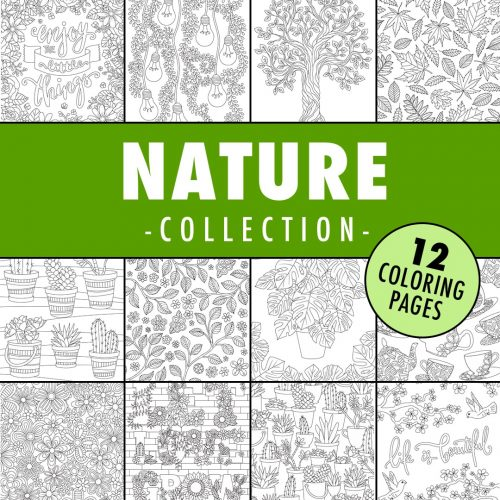 nature coloring page collection 500x500