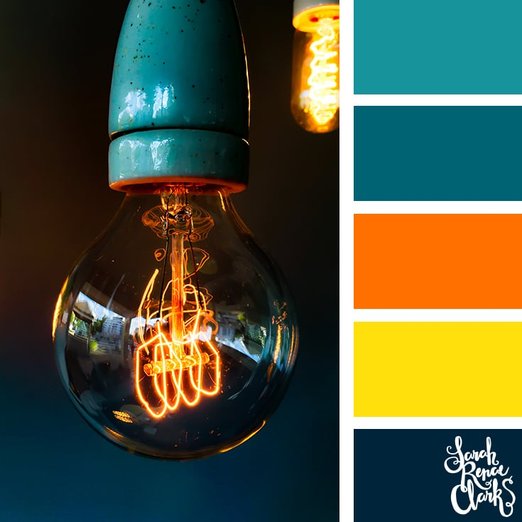 Color Palette - teal, orange, yellow, black
