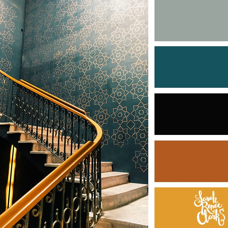 Color Palette - teal, brown, mustard