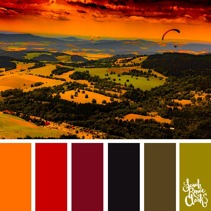 Color Palette - orange, red, black, green