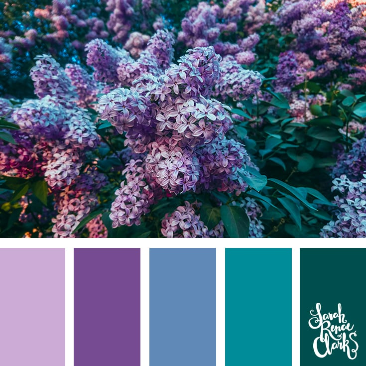 Color Palette - lilac, purple, blue, teal