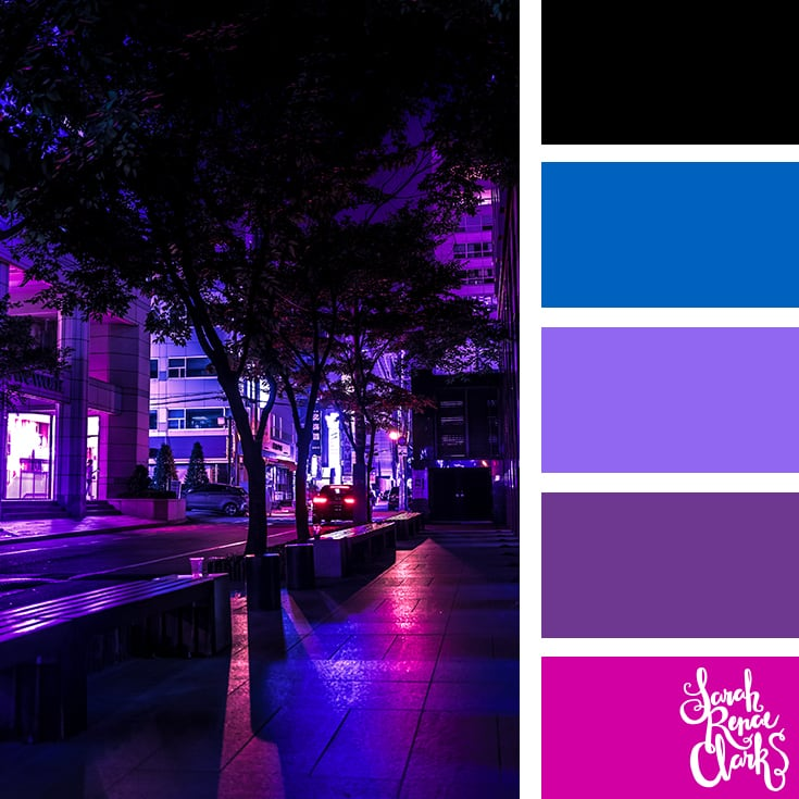 Color Palette - black, purple, blue, pink