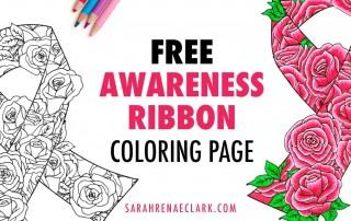 Free cancer awareness ribbon coloring page