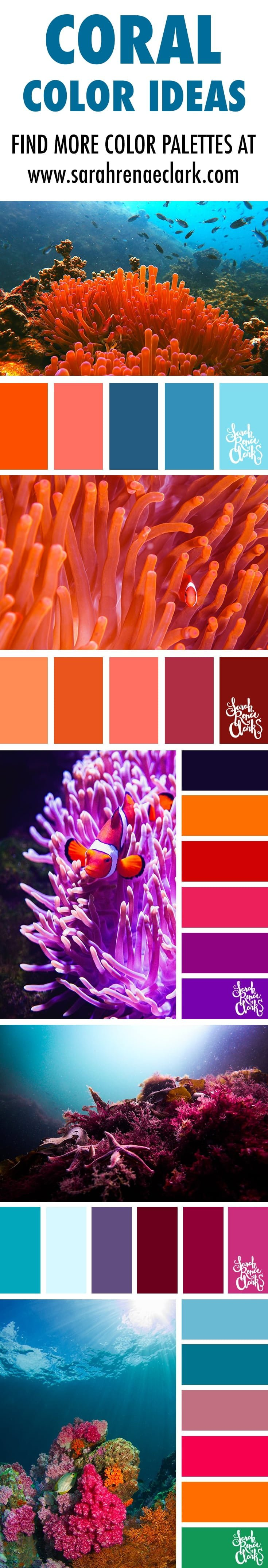 coral color palettes, color schemes, color ideas